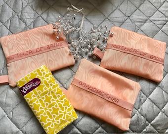 Mother of Bride tissue holder, mother of groom, grandmother , kleenex tissue cover holder, wedding tissue cover holder