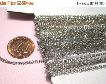 50% OFF Clearance Sale-- Silver Tone Link-Opened Cable Chains 2mm Jewelry Supplies (No.44)