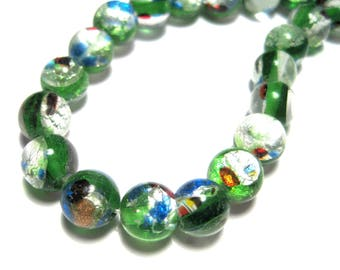 1 Strand Handmade Green Round Lamp work Glass Beads 7.5mm