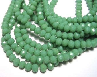 1 Strand Dark Sea Green Faceted Imitation Jade Glass Beads 3mm( No.32)