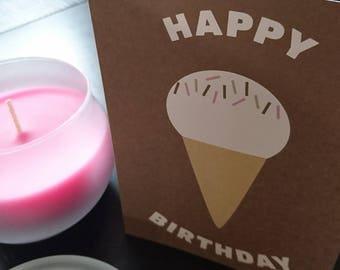 Ice Cream Cone Happy Birthday Card | Mint or Cocoa