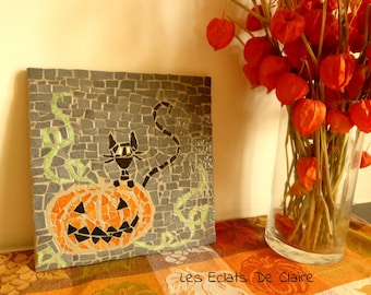Bottom dish for Halloween 'the cat and pumpkin', mosaic