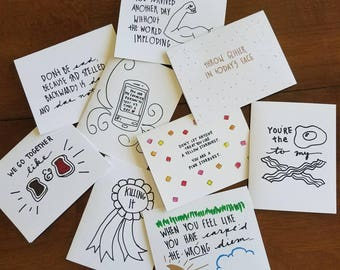 You Pick FOUR: set of hand-doodled cards