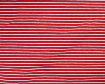 Fabric - cotton/elastane medium weight striped jersey fabric - red/white - knit fabric.
