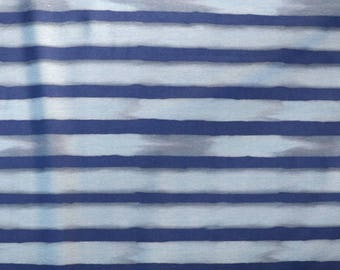 Fabric - jersey fabric - Navy and blue watercolour stripe print cotton/elastane knit