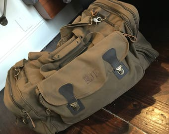 Set of 7 Large Duffel Duffle Bag Military Personalized Groomsmen Gift Canvas Style Weekend Travel Bag Long Weekender