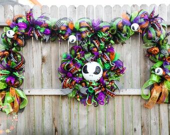 Jack Skellington Wreath and Garland Set, Halloween Wreath, Skeleton Wreath, Premium Halloween Wreath, 10.5 Halloween Garland