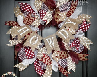 Howdy Aggies Wreath, Texas A&M Wreath, Aggies Wreath, Aggies Alumni, A and M Grad