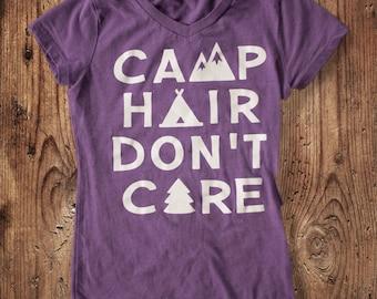 Camp Hair Don't Care Shirt - Girl's Camping Shirt