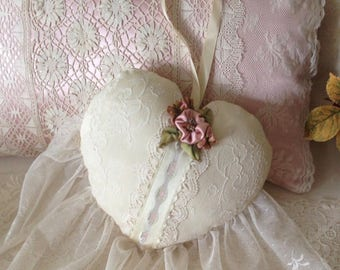 Silk hanging heart pillow.  Vintage and antique laces and handmade silk flowers