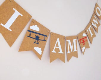 Bunting, Vintage Airplane 2nd Birthday, Time Flies Birthday, Travel decoration