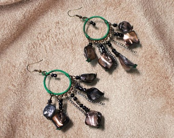 Green enamel, bronze and shell chandelier earrings