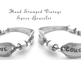 Stamped Silverware Bracelet, Have Courage Engraved Spoon Bridesmaid Jewelry  Gifts Under 40, Personalized Bracelet Freshwater Pearl