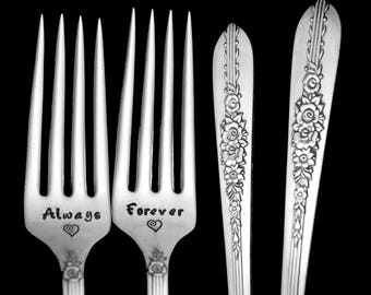 Stamped Wedding Forks Always and Forever Fork Something Old Vintage Engraved Flatware Engagement Gift Floral Silverware Royal Rose
