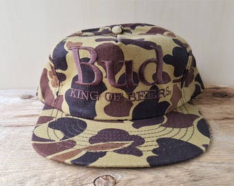 Vintage Budweiser BUD King Of Beers Camouflage Snapback Hat Official Budweiser Product Promo Embroidered Cap Stylemaster USA Camo Ballcap