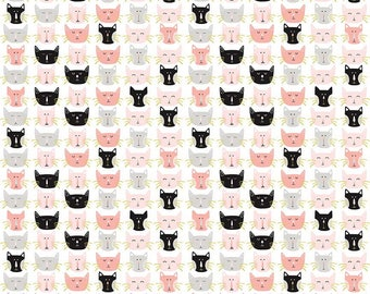 Meow by My Mind's Eye for Riley Blake, C6563-WHITE, Cats, Cat faces, Cat Lover, Cat Fabric - IN STOCK