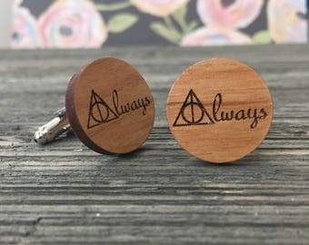 Always, Professor Snape Inspired Wooden Cuff Links