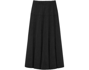 Baby'O Girl's Stretch Modest Knit Fit and Flare A-Line Maxi Skirt, Black