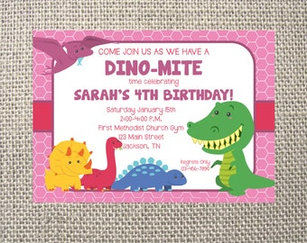 PRINTED or DIGITAL | Dinosaurs T-Rex Reptile Prehistoric | Birthday Party Invitation | Invites | Pink | Girl | Custom Invitations .82 each