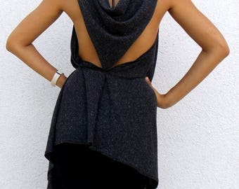 SALE 15% OFF Anthracite Backless Top / Asymmetrical Backless Tunic Top TT24
