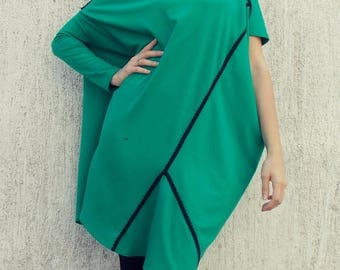 SALE 25% OFF Loose Plus Size Emerald Dress / Asymmetrical Jersey Oversize Dress TDK91