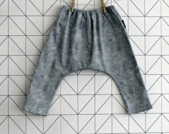 Marbled denim harem pants, sarouel for babies and toddlers