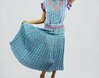 Vintage Diane Freis Dress Colorful Accordion Pleats Ruffles