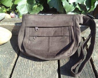 Brown corduroy fanny pack,belt bag,hip bag
