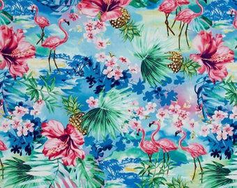 Timeless Treasures Fabric Collections - Oasis Tropical Foliage & Flamingos Ocean | PRE-ORDER Fabric | Quilting, Sewing, Apparel, Home Decor