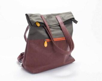 convertible backpack FREE GIFT | vegan backpack | canvas & leather backpack | work backpack purse | messenger backpack | canvas rucksack