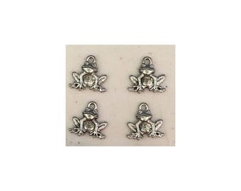 Frog CHARM (4) antique pewter - 4 charms per pack