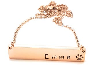Pet Memorial Necklace - Hand Stamped Rose Gold Dog Remembrance Necklace