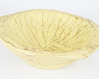 Chubster Deep Rustic Wooden Dough Bowl With Handles-Trencher-Batea-Doughboard-Doughbowl-Upbeat Yellow