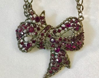Rose rhinestone bow pendant necklace fashion accents