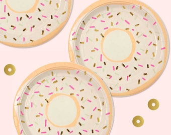 Meri Meri Donut Plates (Set of 8), Gold Foil Doughnut Party Plates, Pink and Gold Sprinkles, Valentine Party Supplies