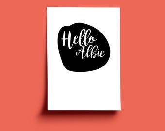 Personalised HELLO minimalist A3 art print