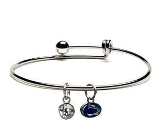 Penn State Nittany Lion & Crystal Dangle Charm Bracelet