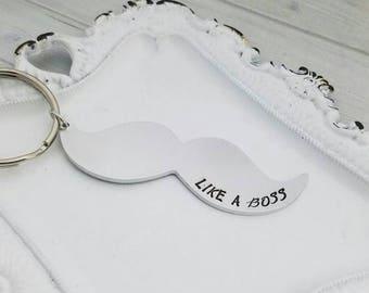 Mustache keychain, mustache gift, personalized mustache