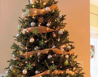 Burlap Christmas Tree Ribbon - Burlap Ribbon - Tree Ribbon - Christmas Decoration - Rustic Christmas - 9m - 10yrds