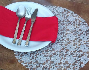 Lace Placemats - Round Lace Tablemats - Lace Place Settings - Lace Plate Charger - Lace Centerpieces - Wedding Table Decor - Set of 80
