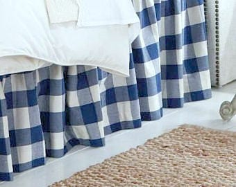 Royal Blue Plaid Skirt - Buffalo Check Bed Skirt - Buffalo Check Bed Valance - Country Bedskirt - Buffalo Check Dust Ruffle  - Queen Size