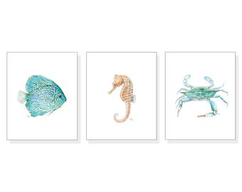 Sea Art Ocean Prints Sea Life Wall Art Ocean Painting Beach Home Decor Blue Fish Blue Crab Seahorse Watercolors Coastal Art Prints Set of 3.