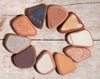 Sea Pottery / 10 pieces / Italian Genuine Brown Beige Black Sea Tiles for Collection, Jewelry and Mosaic (sp-0010-32)