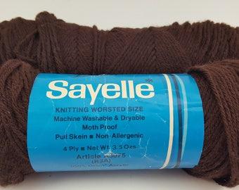 Vintage Dawn Sayelle Yarn, 100% Orlon Acrylic Yarn, Dark Brown, Knitting Worsted Size, MothProof, Non Allergenic