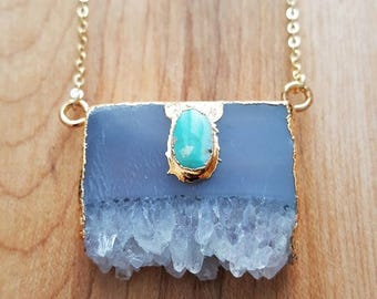 15% OFF SALE Natural Amethyst Slice Pendant & Natural Turquoise Stone Pendant 14K Gold Filled Chain / Gold Edged / Turquoise Pendant / Ameth