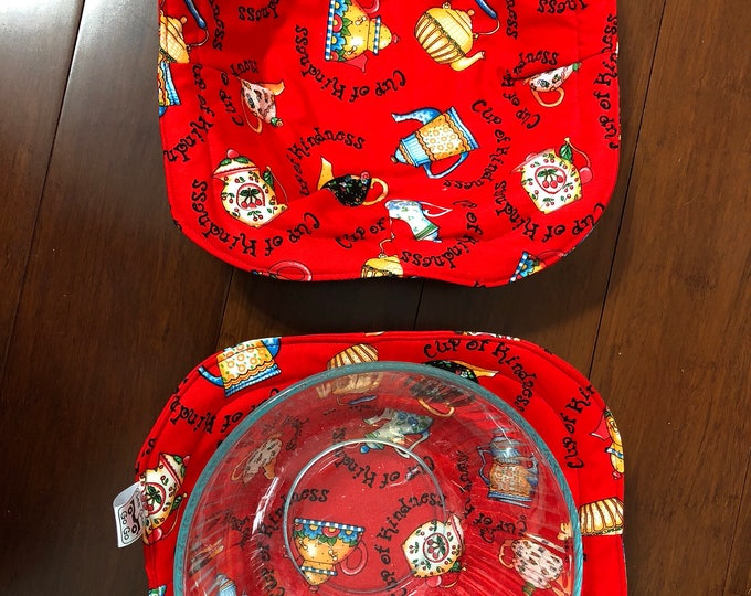 Red coffeepots / Microwave bowl cozies SET OF TWO