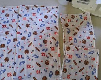 Baseball theme burp cloths