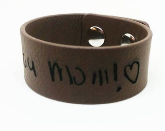 Dark Brown Leather Cuff Bracelet Personalised with Handwritten Name(s)