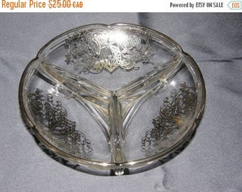 SUMMER IS HERE Vintage Silver Overlay Clear Glass Divided Dish