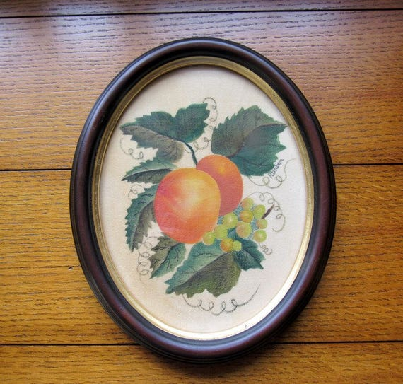 Apricots On Velvet Hand Painted And Professionally Framed In Oval Cherry Wood Farmhouse Decor